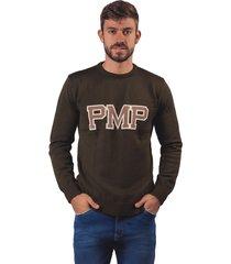 sweater tejido letras pmp verde militar