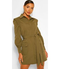 shoulder detail belted utility shift dress, olive