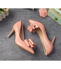 pp333 elegant pointy pump w big bowtie top,extra size.us size 2-10, nude