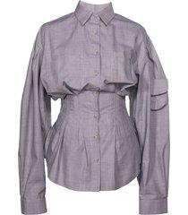 corseted lantern sleeve shirt top
