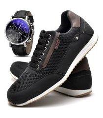 sapatênis sapato casual com cadarço juilli com relógio 1100m preto