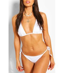 ribbed tie triangle bikini, white