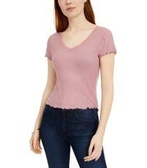 hippie rose juniors' lace-trimmed lettuce-edge t-shirt