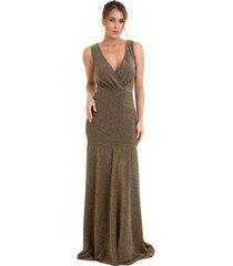 vestido longo izad em lurex decote v traspassado feminino