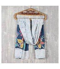 cotton batik shawl, 'blissful butterfly' (india)
