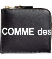 comme des garcons huge logo half-zip wallet - black