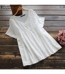 zanzea plus size summer t-shirt tops hollow out lace crochet tee shirt blusa -blanco