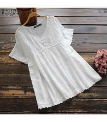 zanzea plus size summer t-shirt tops hollow out lace crochet tee shirt blusa -blanco