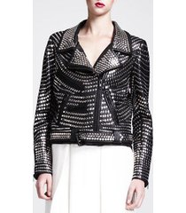 fashion woman full silver studded puck rock leather jacket