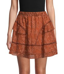 q & a women's embroidered mini skirt - clay - size m