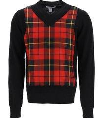 comme des garçons shirt v-neck checkered sweater