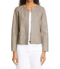 women's lafayette 148 new york griffith lambskin leather jacket, size small - grey