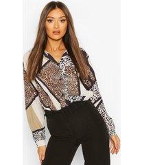 animal print oversized pocket detail shirt, brown