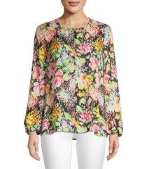 kobi halperin women's laura floral silk blouse - pink multi - size s