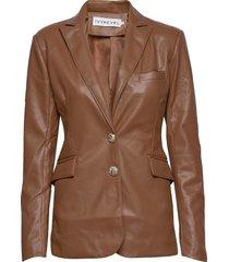 slim belted pu blazer läderjacka skinnjacka brun ivyrevel