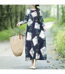 zanzea mujeres de manga larga camisa de vestir de largo causal floral de impresión compruebe el vestido maxi -azul marino