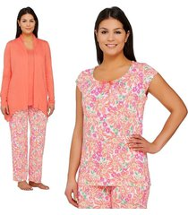 carole hochman trendy jersey spring bloom 4 pc pajama set coral pxs new a262492