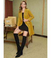 yellow button design notch collar coat