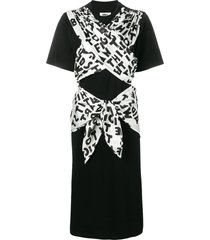 mm6 maison margiela ribbon tied jersey dress - black