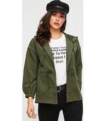 yoins abrigo de manga larga con correa elástica verde militar