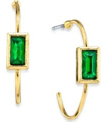 2028 14k gold dipped square crystal open hoop stainless steel post small earrings
