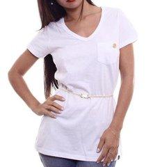 camiseta alma de praia maxi v c/ cinto feminina - feminino