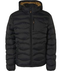 no excess jacket hooded padded wavy quilted black