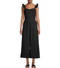lea & viola women's solid ruffle jumpsuit - black - size m