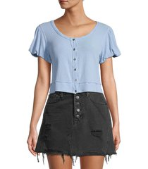 free people women's molly ribbed crop top - larkspur - size s