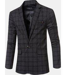 blazer casual da uomo stile britannico sottile plaid casual da uomo