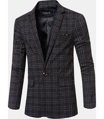 business casual plaid gentleman british style sottile blazer per uomo