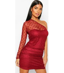 petite dobby mesh one shoulder ruched dress, berry