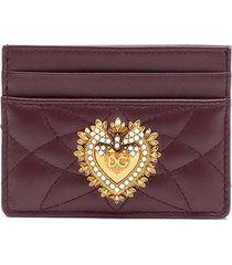 dolce & gabbana devotion quilted card holder - red