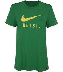 camiseta do brasil nike tr gro - feminina - verde