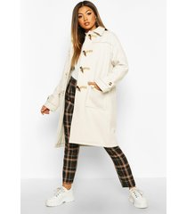 collared wool look duffle coat, ivory