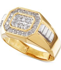 men's diamond rectangle ring in 14k gold (1/2 ct. t.w.)