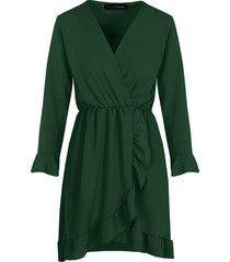 jurk met overslag smaragdgroen