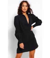 oversized blouse jurk met franjemouwen en knopen, zwart