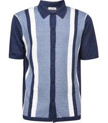altea stripe patterned long placket polo shirt