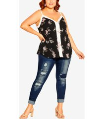 city chic plus size cami spliced floral top