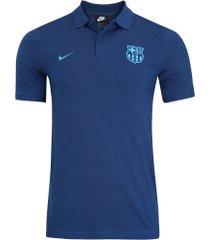 camisa polo barcelona piquet nike - masculina - azul escuro