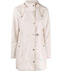 fay drawstring hooded parka coat - neutrals