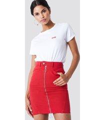 na-kd front zipper pencil denim skirt - red