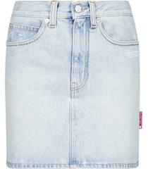 off-white logo denim miniskirt