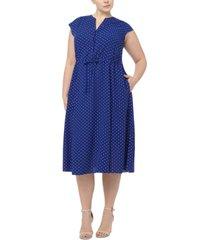 anne klein plus size dot-print midi dress