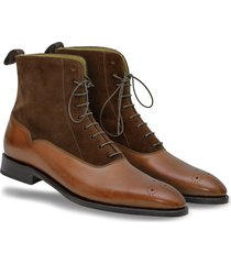 handmade ankle high brogue dress boots leather dress tuxedo formal suede boots