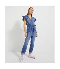 macacão longo com babado na manga em jeans | blue steel | azul | pp