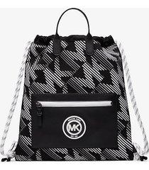 mk zaino brooklyn con coulisse e logo - midnight/wht - michael kors