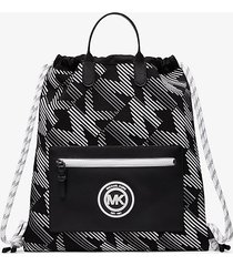 mk zaino brooklyn con coulisse e logo - midnight/wht - michael kors