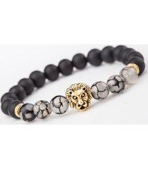 braccialetti di perline vintage perline di agata braccialetti di polsino con testa di leone in lega gioielli etnici per uomo